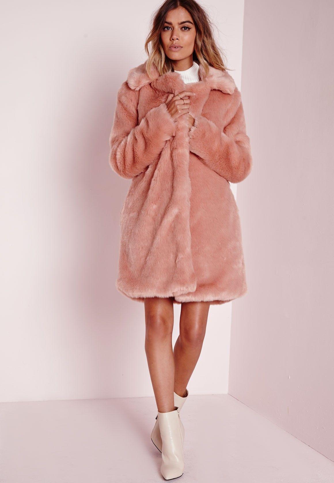 48f2582aa2cd pink longline faux fur coat. | clothes. | Pink faux fur coat, Pink ...