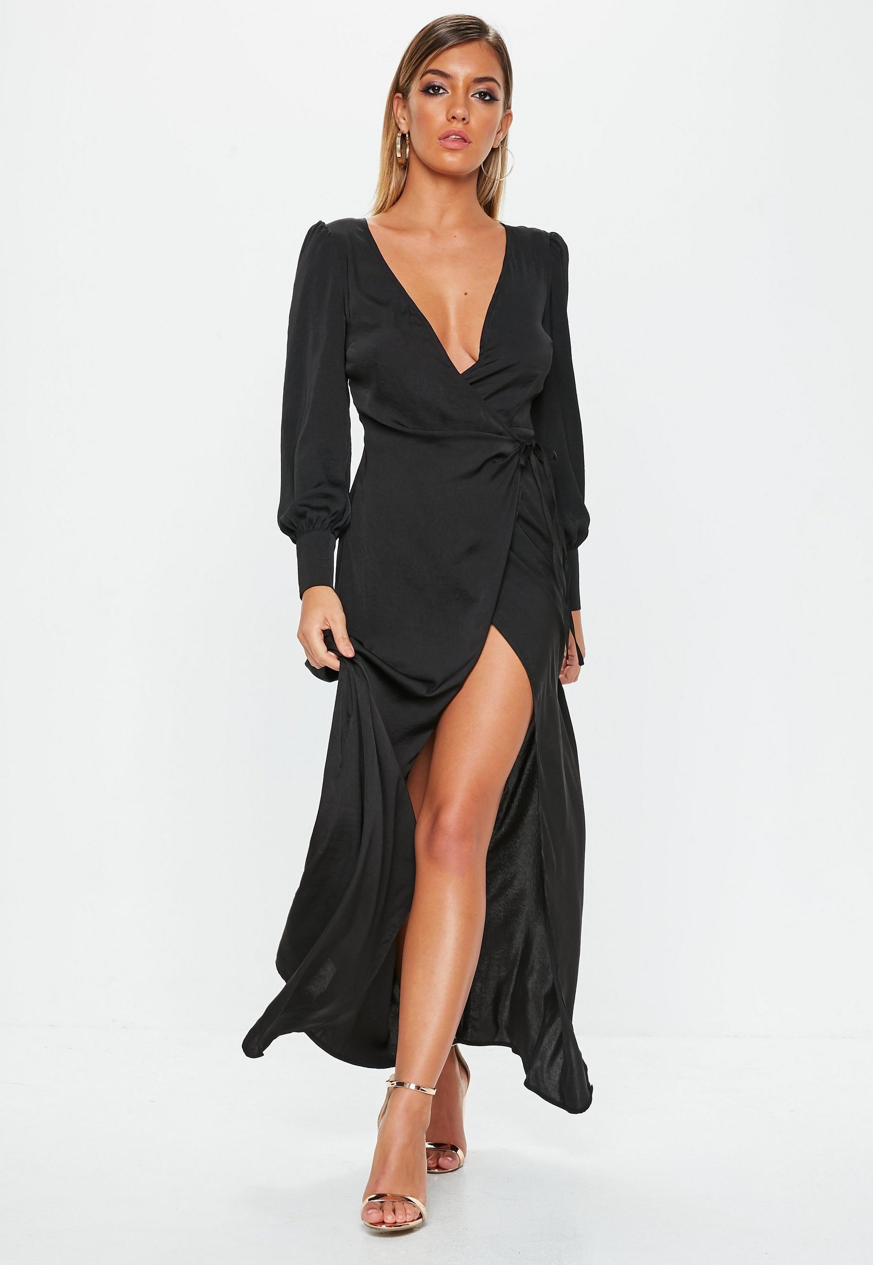 Black Satin Tie Side Maxi Dress Missguided Dresses Trending Dresses Shop Maxi Dresses [ 2608 x 1800 Pixel ]