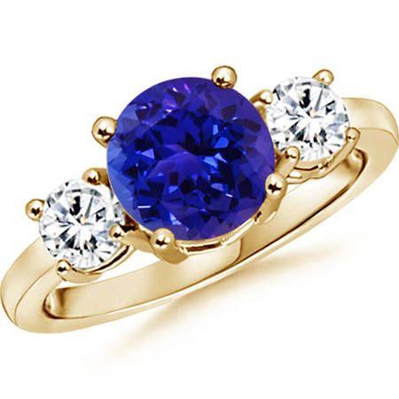 Angara Classic Oval Tanzanite and Diamond Three Stone Ring EXMYO