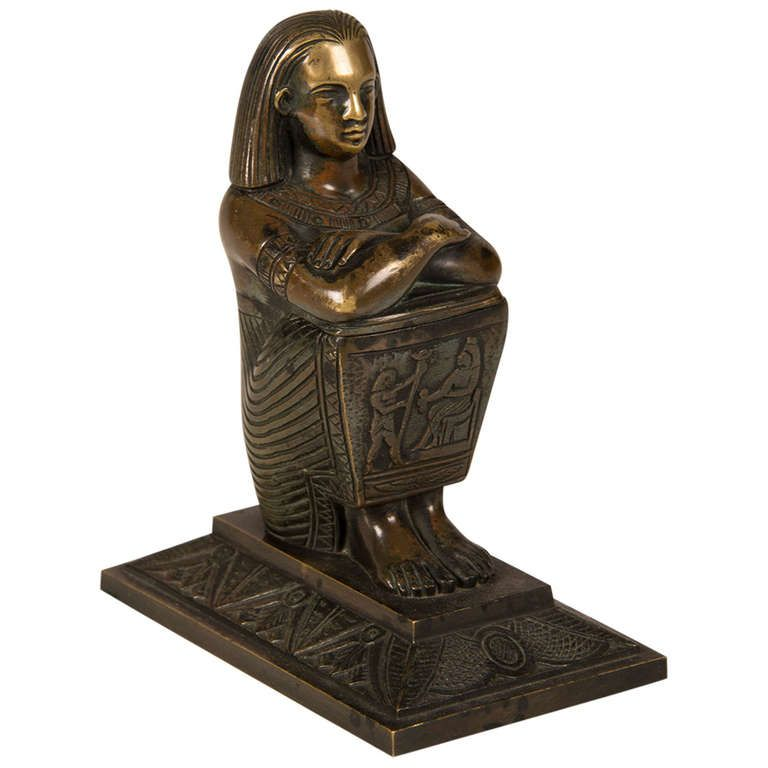 Egyptian Revival Bronze Ink Pot from France circa 1880 | From a unique collection of antique and modern desk accessories at https://www.1stdibs.com/furniture/decorative-objects/desk-accessories/
