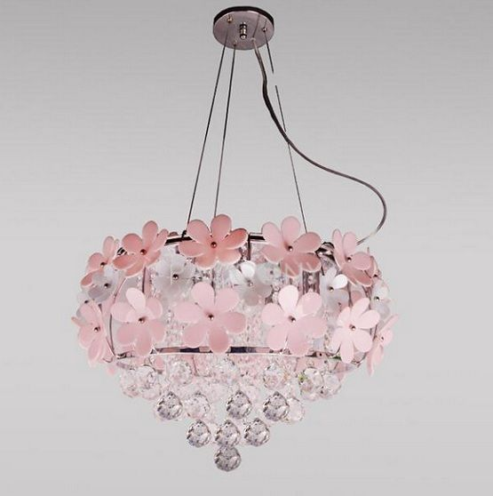 Daisy chandelier pink flower chandelier lighting home for Chandeliers for girls room