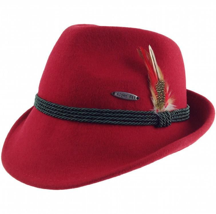 b5b1d01cdf3 This traditional Red Austrian Mountain Hat made of quality wool features  class and quality. Hat is made of 100% wool and is accented with deluxe  feather.