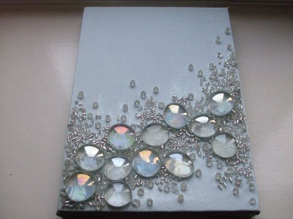 """NEW- Freeform- Glass and Beaded-Crystal-Abstract- Art-Box Canvass-Wall Art-Home Decor..""""Dew Drop"""". $33.00, via Etsy."""