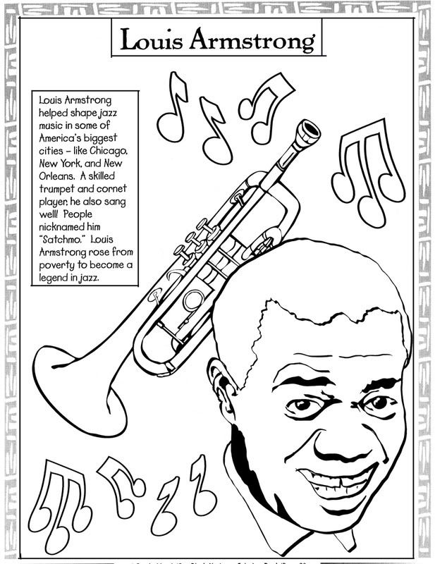 Delightful Black History Month Coloring Pages | Black History Coloring Pages: Louis  Armstrong