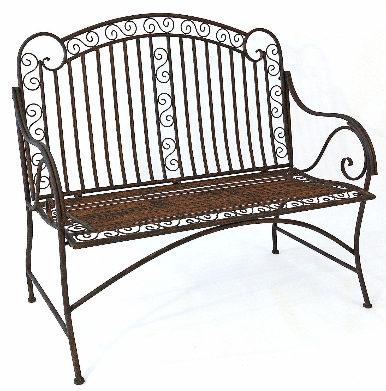 Amazon De Mediterrane Sitzbank Pablo Gartenbank Metall Bank Garten Rostoptik B117cm Outdoor Furniture Metal Bench Garden Bench