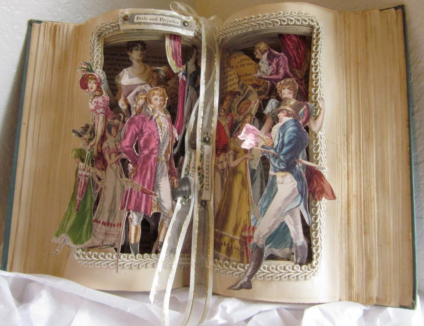 Pride and Prejudice altered book by Jane Austen vintage repurposed upscaled pop-up style