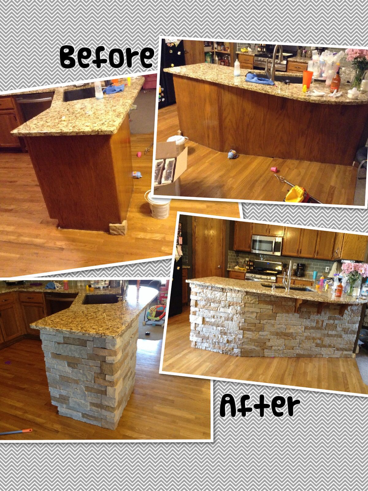 Diy Rustic Backsplash Air Stone Island Diy Autumn Mountain Kitchen Reno In