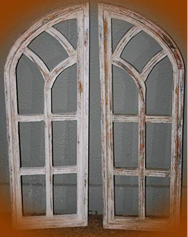 Amazon Com Pd Home Garden Whitewashed Wood Gothic Arch Window Frame Wall Decor 2 Piece Set Home Kitc Church Windows Frame Wall Decor Wooden Window Frames