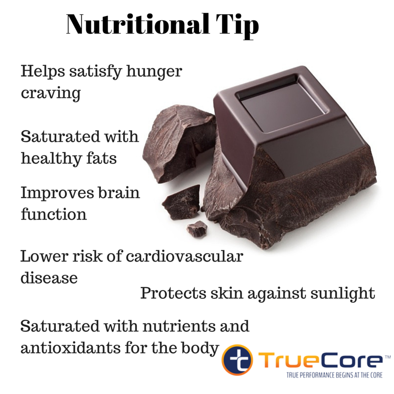 Did you know? Dark chocolate helps satisfy hunger cravings, is saturated with healthy fats, it improves brain function, lowers risk of cardiovascular disease, it protects skin against sunlight, and it is saturated with nutrients and antioxidants for the body.