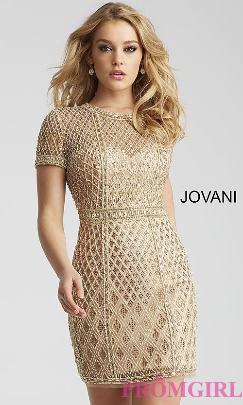 Form-Fitting Formal Dresses Short Gold