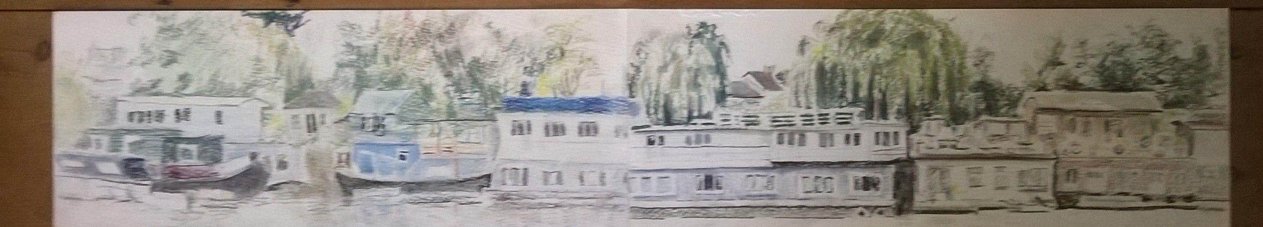 Houseboats - Richmond - JR16 - pastels