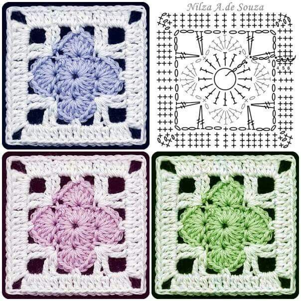 Čtverec | Granny Square | Pinterest | Tejido, Cuadrados y Tejido gancho