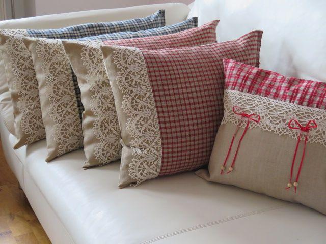 Landhaus Kissen aus uralten handgewebten leinen kissen bezug mit handgeklöppelter