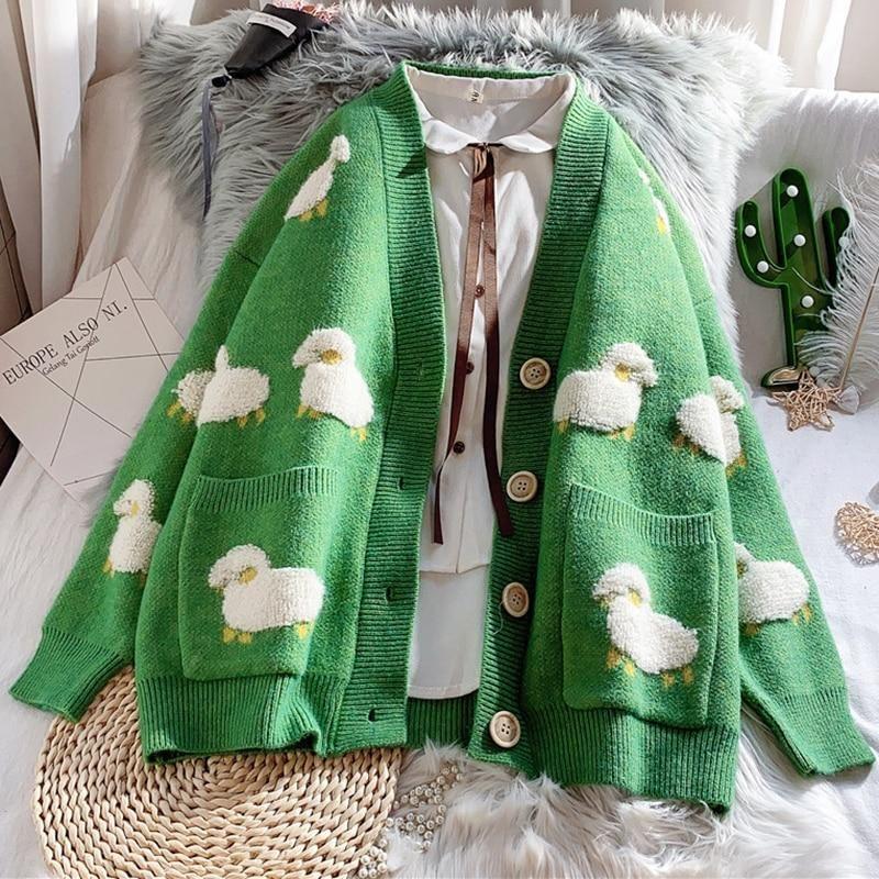 CUTE SHEEP CARDIGAN SWEATER - One Size / Green