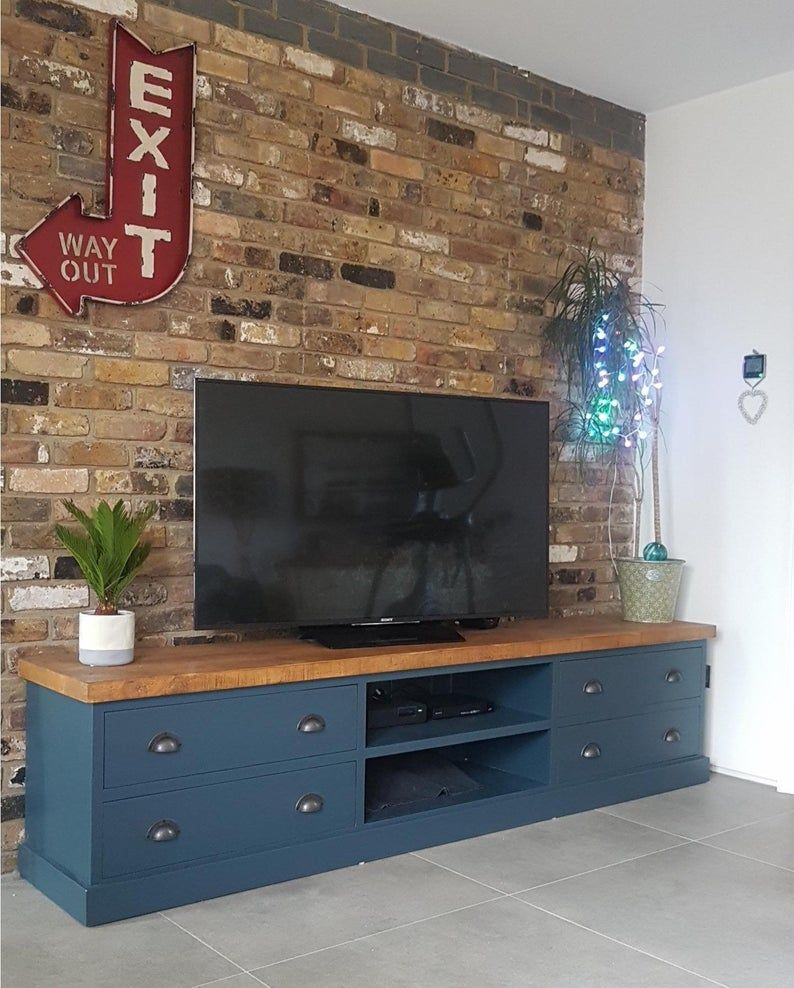 Extra Large Tv Stand Big Long Tv Cabinet Stand Media Unit Grey Blue Colour And Size Choice In 2021 Large Tv Stands Large Tv Tv Cabinets