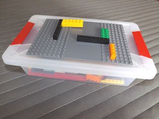DIY Lego tote for Lego Math – mounting lego plate to top of tote.  Easy storage …