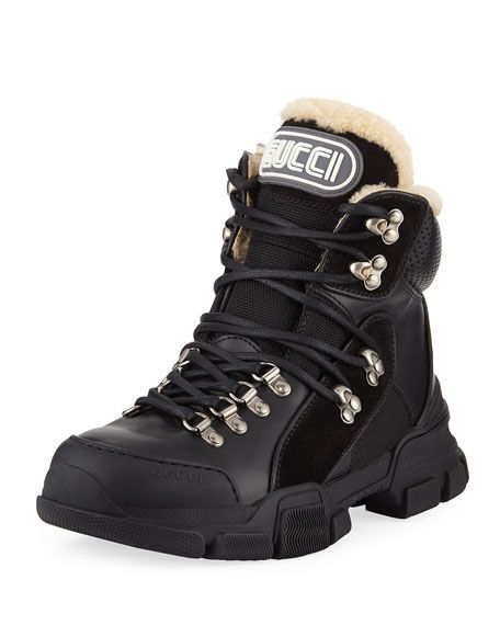 2a89db9cb27 Flashtrek Shearling-Lined Hiker Boots by Gucci at Neiman Marcus