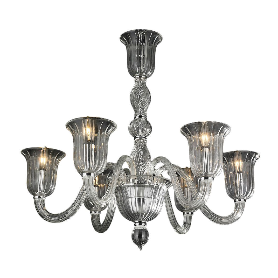 Brilliance Lighting And Chandeliers Murano Venetian Italian Style 6 Light N Gl In Clear Finish Chandelier