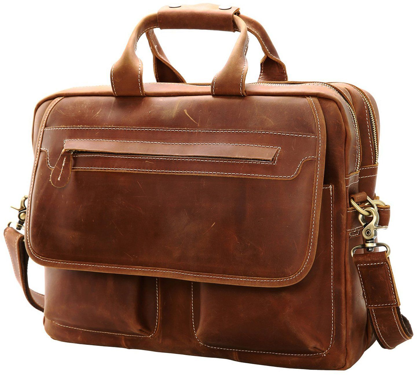 118eb6cc99 Iswee Leather Vintage Briefcase Messenger Bag for Men 14