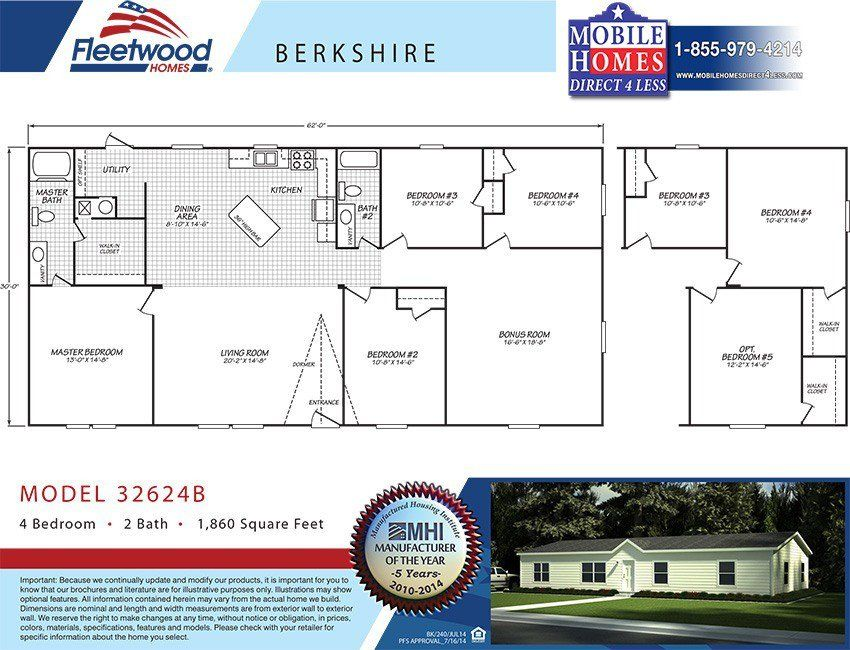 Fleetwood Berkshire 32624B - 4 Bed 2 Bath Mobile Home For Sale ... on used mobile home prices, 1 bedroom prefab homes, 1 bedroom trailers for rent, manufactured home prices, modular homes floor plans and prices, double wide modular home prices, 1 bedroom modular homes, manufactured housing prices,