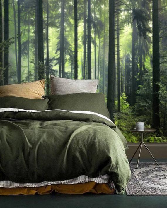 Dark Green Misty Forest Wall Mural Wallpaper Peel And Stick Etsy Wallpaper Design For Bedroom Forest Theme Bedrooms Wallpaper Bedroom