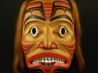 Woman dogfish mask, by Carmen Goertzen (Haida). Late 20th century. The Joan and Paul Gluck Collection.