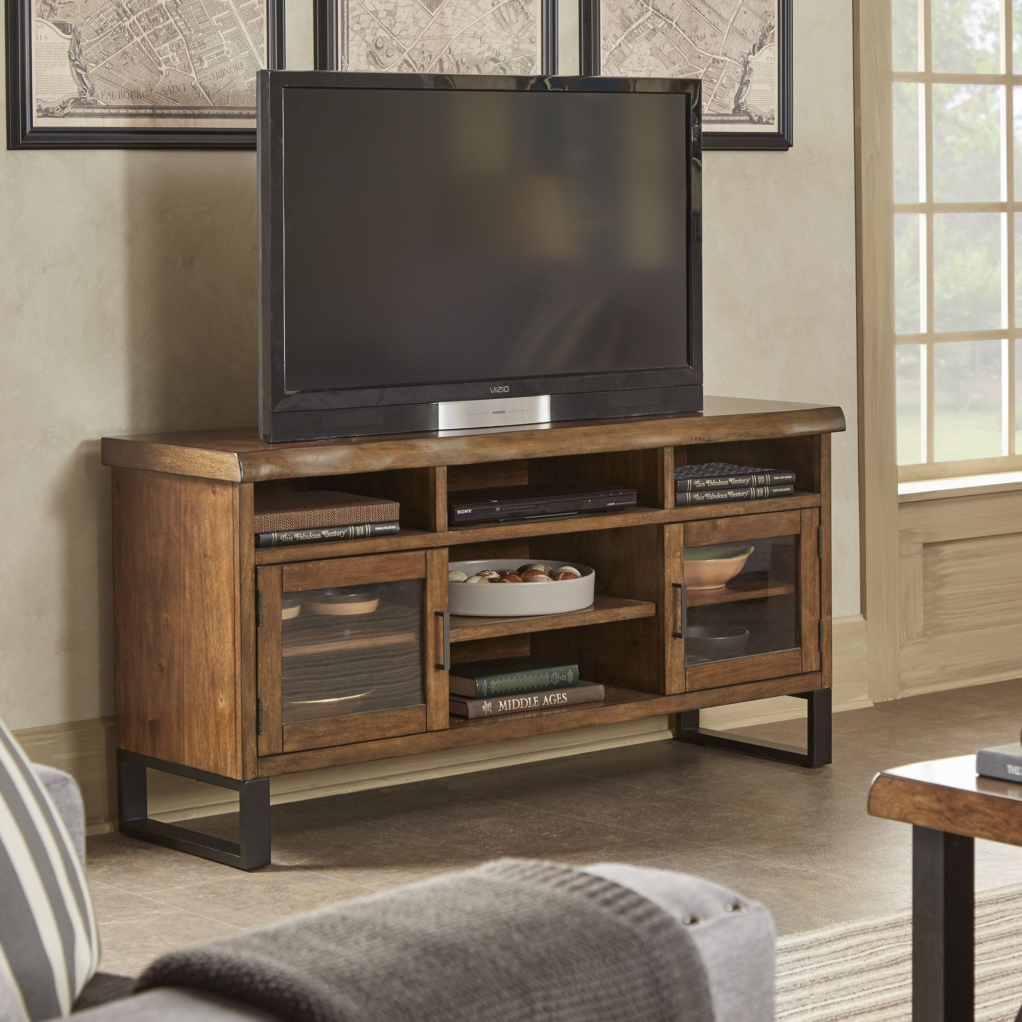 Victorian Tv Stand: Banyan Live Edge Wood And Metal TV Stand Media Console By