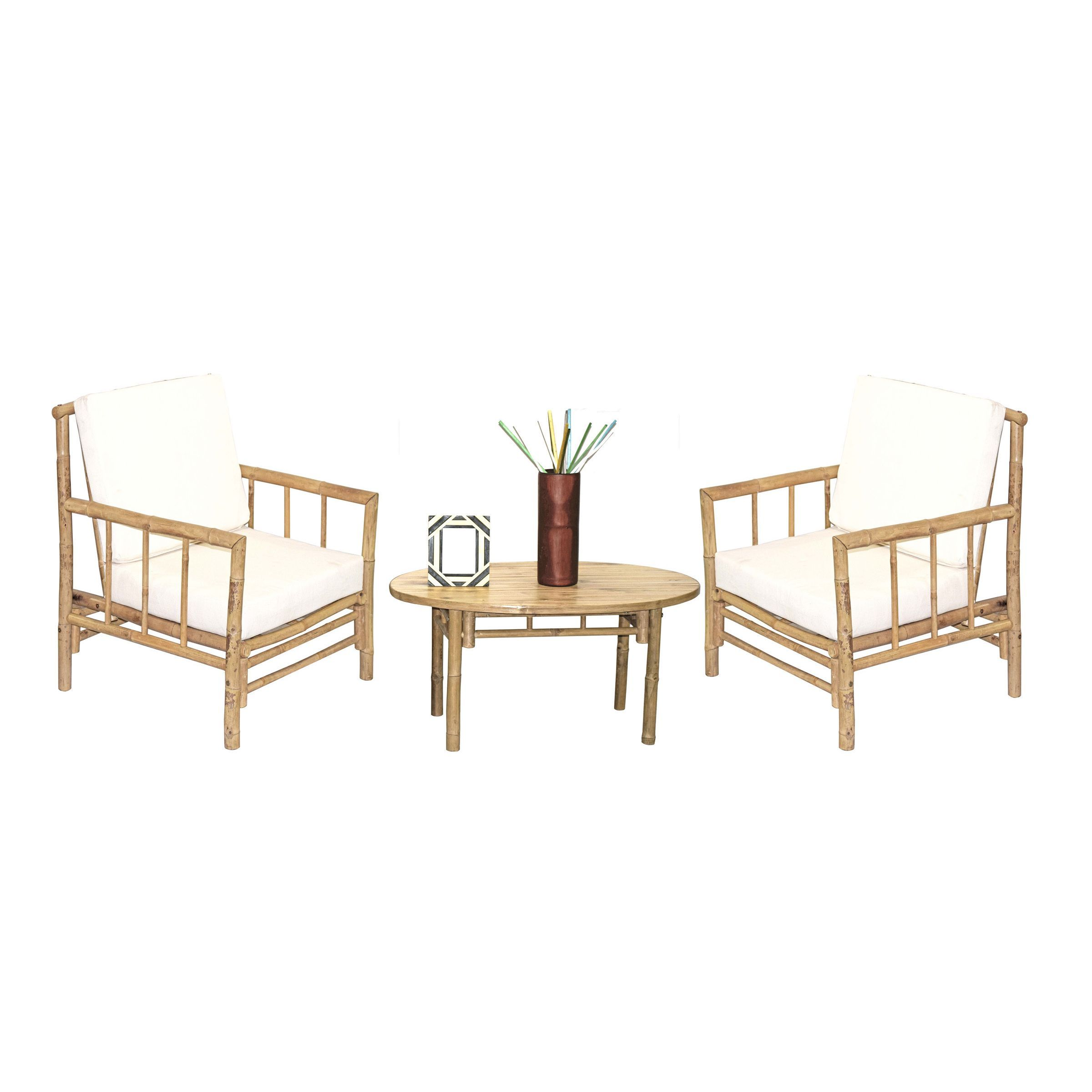 Bamboo54 Handmade 5 Piece Chai Chairs and Oval Table Set Vietnam