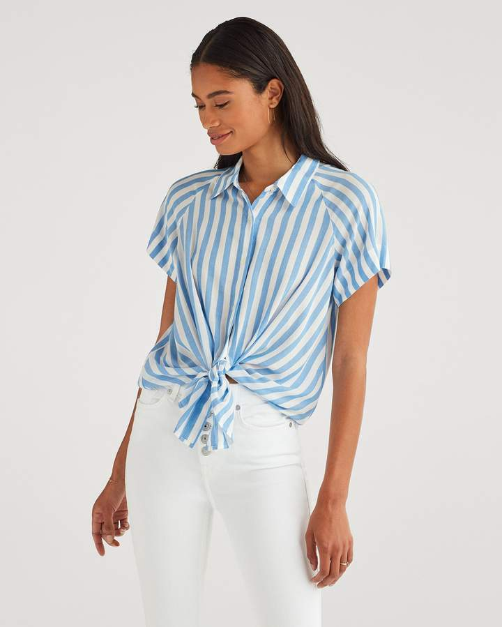 7 For All Mankind Cap Sleeve Tie Front Shirt In Blue And White