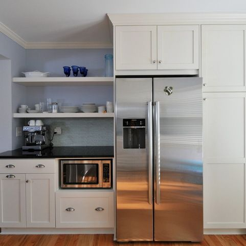 Make The Refrigerator Look Built In With Cabinet Surround Microwave In Kitchen Shaker Kitchen Cabinets Built In Refrigerator