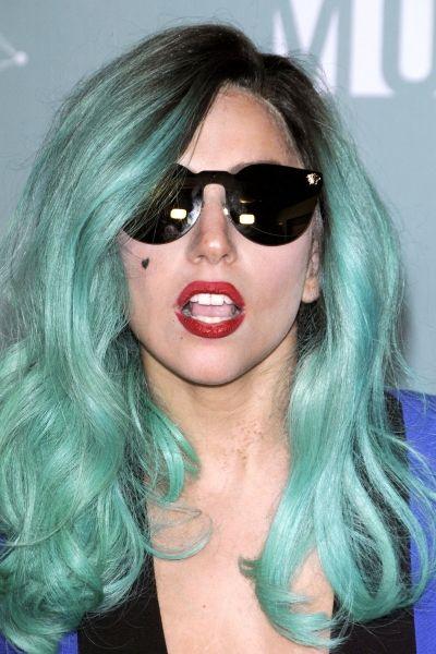 Teal Hair With Brown Roots Lady Gaga Hair Funky Hair Colors Teal Hair