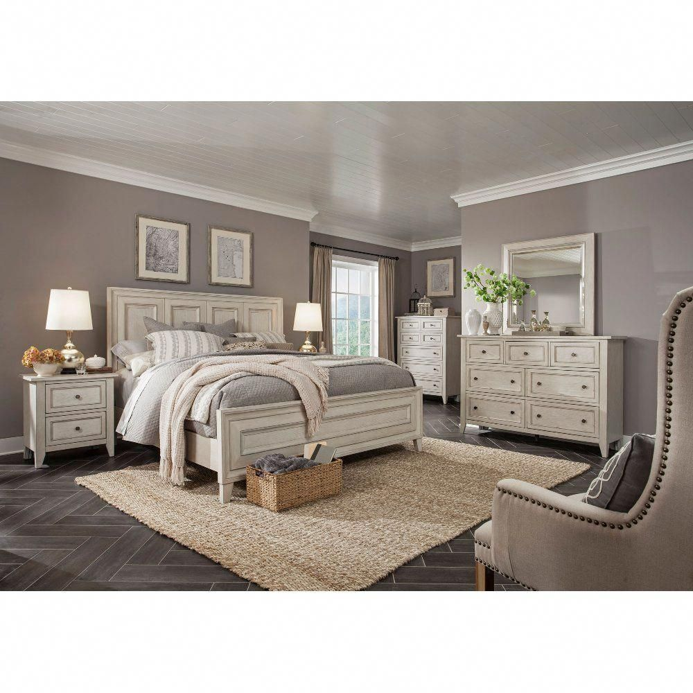 White Casual Traditional 6 Piece CalKing Bedroom Set