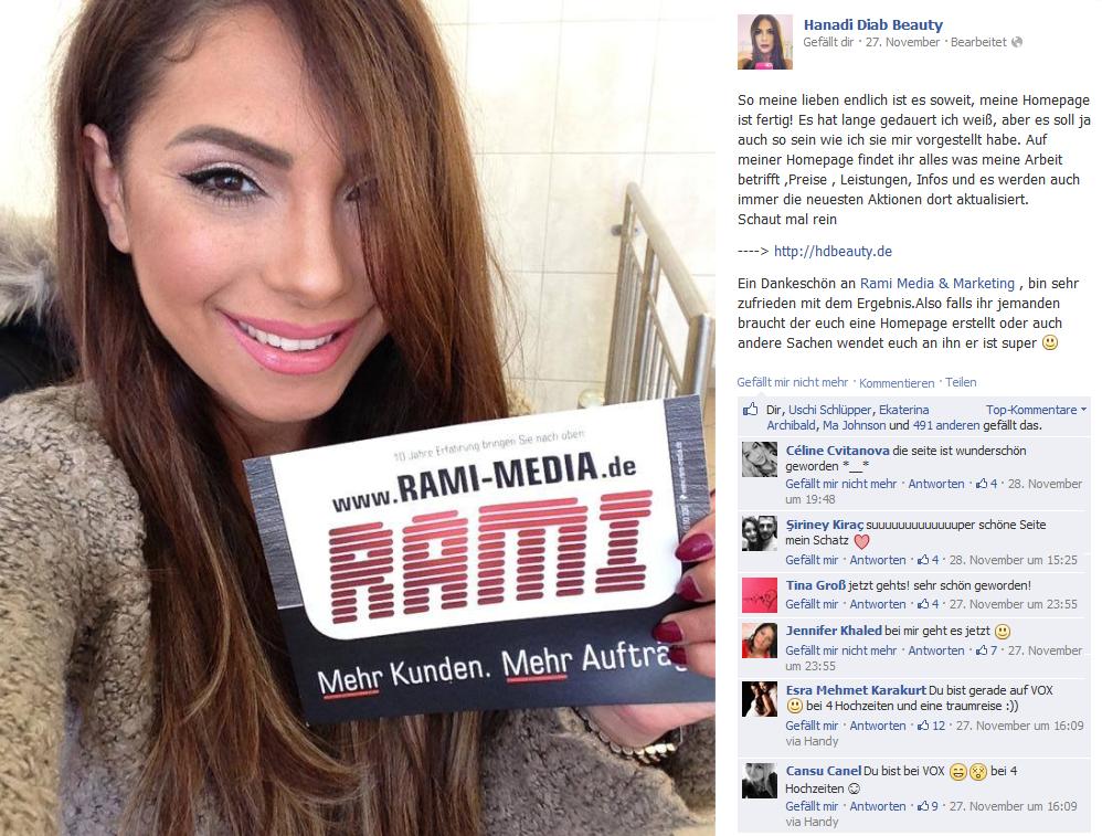 Vor exakt 10 Monaten haben wir die Website von Hanadi Diab Beauty veröffentlicht. Satte 44.000 neue Likes sind seitdem hinzugekommen - von 82.000 auf fast 128.000 Follower in nur 10 Monaten. WOW - herzlichen Glückwunsch & weiterhin viel Erfolg :-)  Zur Website: http://hdbeauty.de  Mehr von Rami: http://fb.rami-media.de