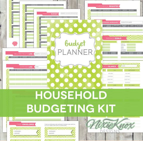 Organize your household budget with this printable 12-page PDF kit - check register in pdf
