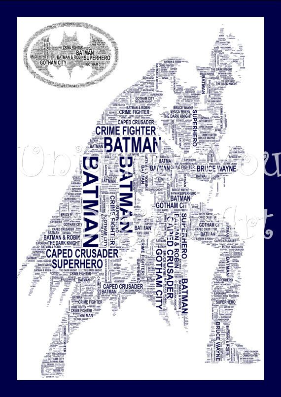 Batman A4 Shaped Word Art. Instant by UniquelyYourDigiArt on
