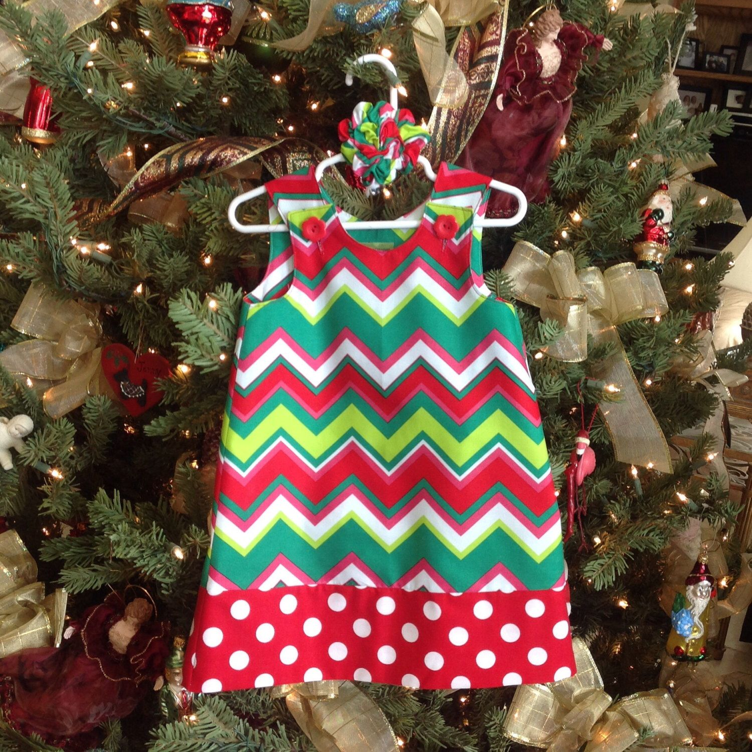 Red Green Pink Chevron Dress Jumper infant baby girls girl