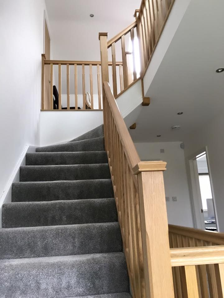 This Is A Pine Stairs With Oak Handrails, Oak Chamfer Spindles And Oak