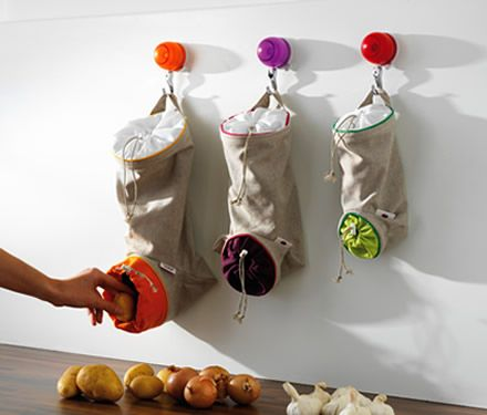 Attractive Creative Small Space Storage In RV Kitchen For Potatoes. Onions, Garlic    Use Knobs And Former Plastic Storage Bag Holders As Repurposed Veggie  Storage In ...