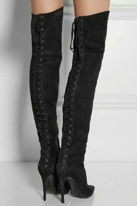 26ebadae603 Miu Miu black suede over the knee boots. Over the knee boots  pose   netaporte