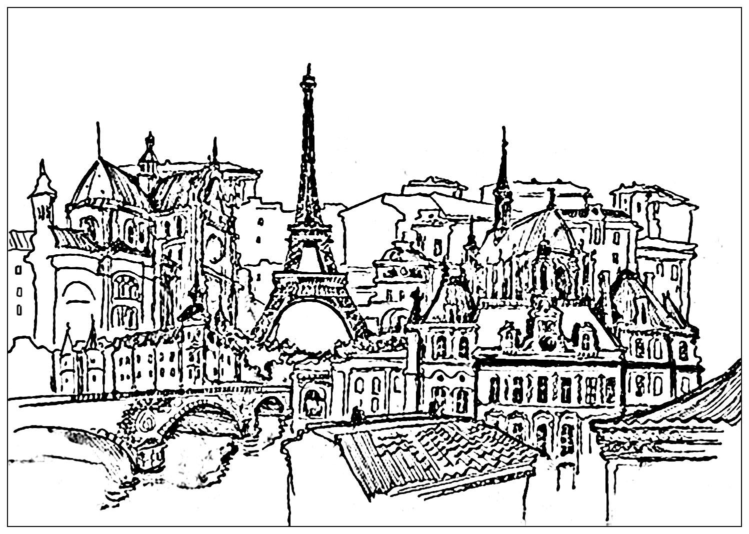 A very complex coloring page of ParisFrom the gallery