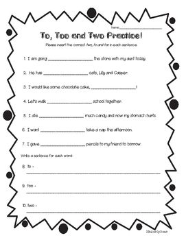 homophones to too and two practice worksheet 4 little baers teachers pay teachers store. Black Bedroom Furniture Sets. Home Design Ideas