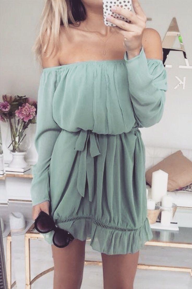 58ee0981d34b5 off the shoulder mint green summer dress   SUMMER FASHION ...