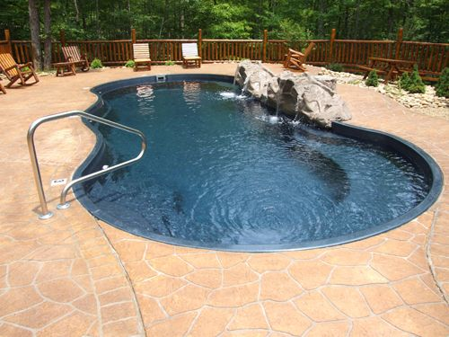 Grand riviera fiberglass pool waterfall feature - Riviera fiberglass pools ...