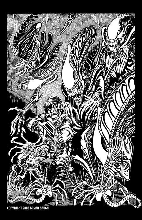 Gr8 Artwork By Bryan Baugh On Deviantart Aliens Line Art Art Artwork