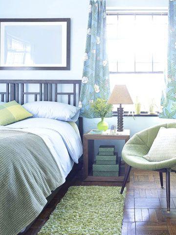 blue modern room (guest room?)