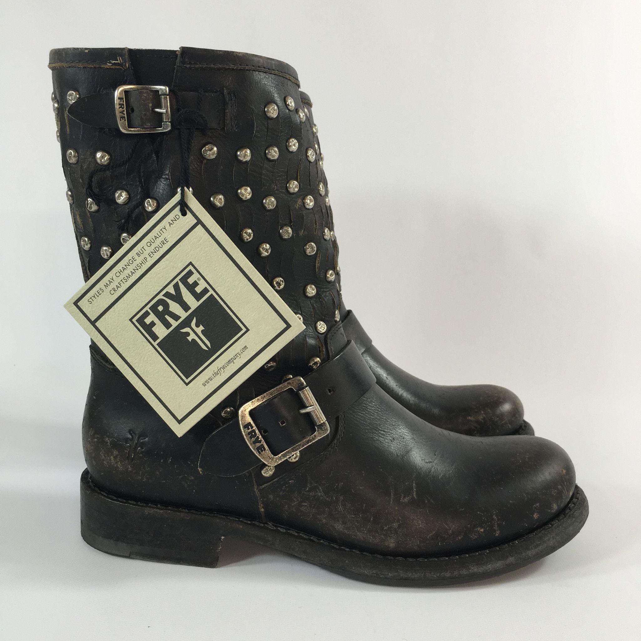 4c5949453915 Frye Jenna Cut Stud Short Ankle Boot Black Size 8