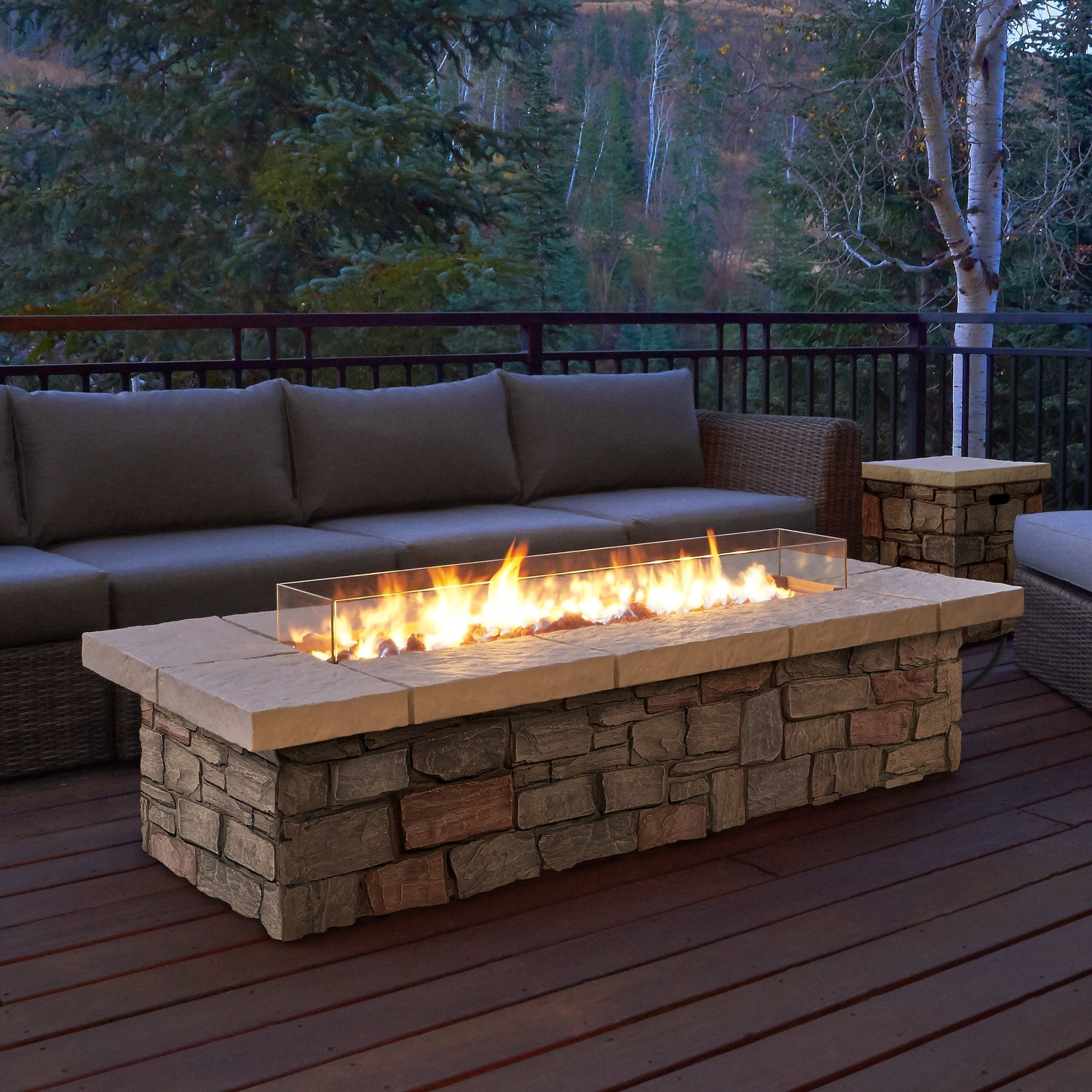 Real flame sedona rectangle lp gas fire red table with natural