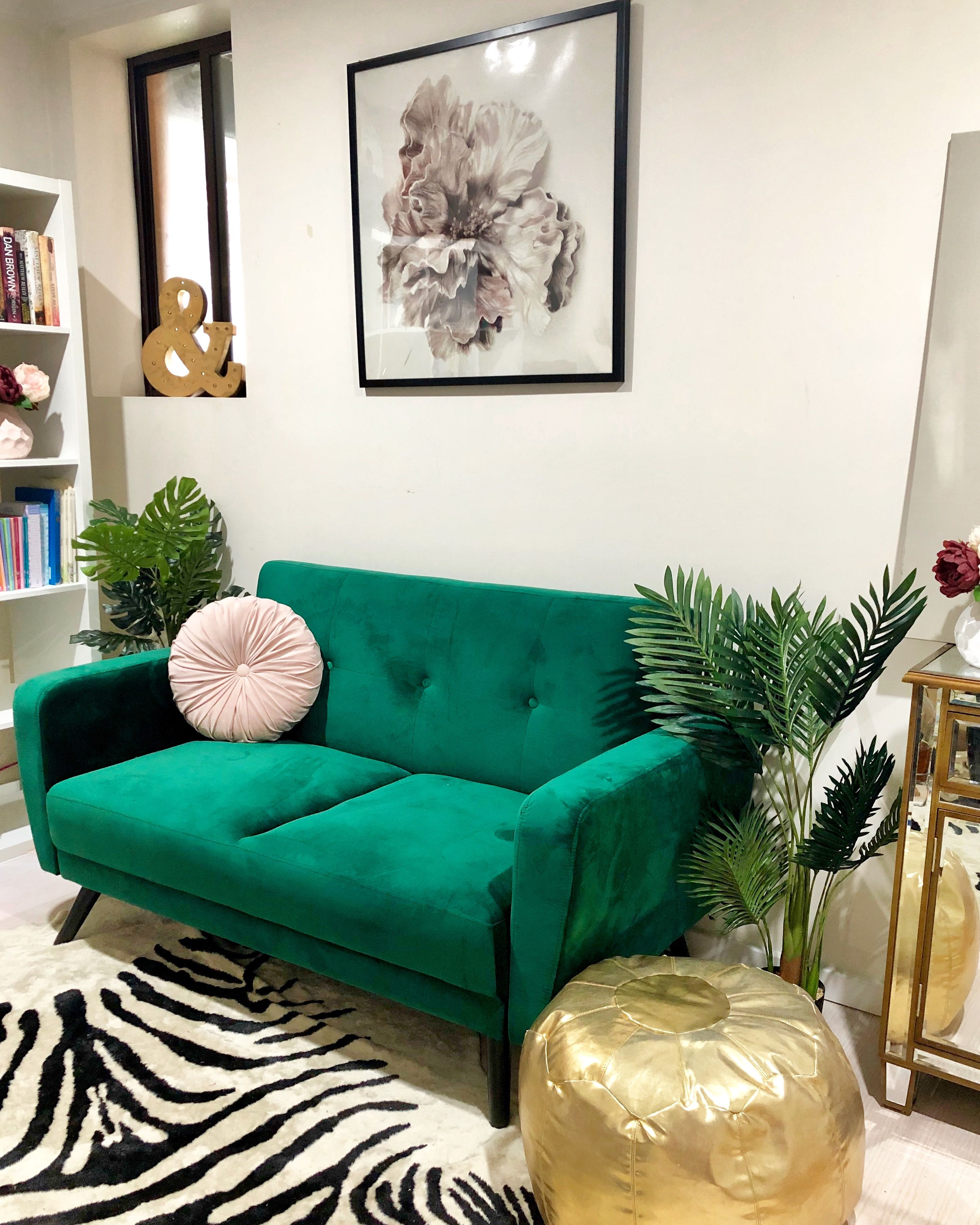 My Home Study And Home Library Using An Forest Green Or Emerald Green Sofa With Pink And Gold Accents From K Green Sofa Living Room Green Sofa Pink Living Room