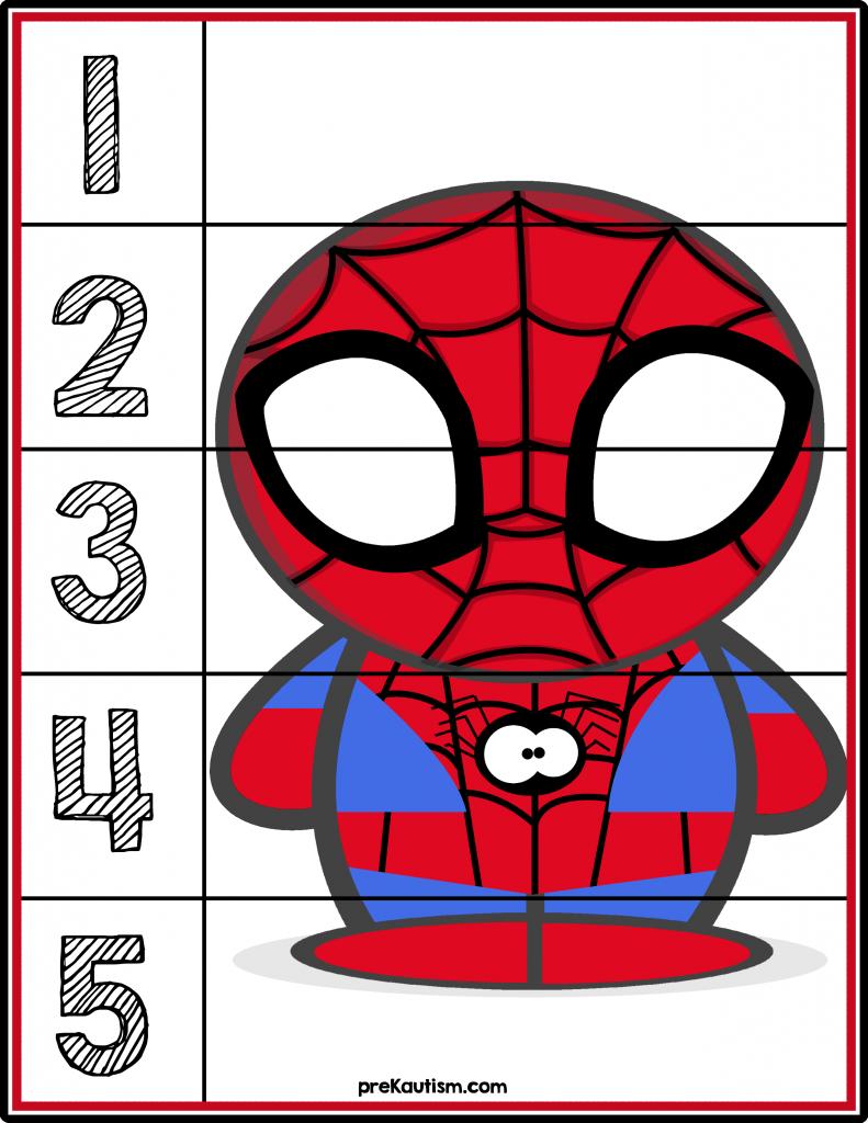 Free Spider Man 1 5 Counting Puzzle Superhero Super Hero Activities Spiderman