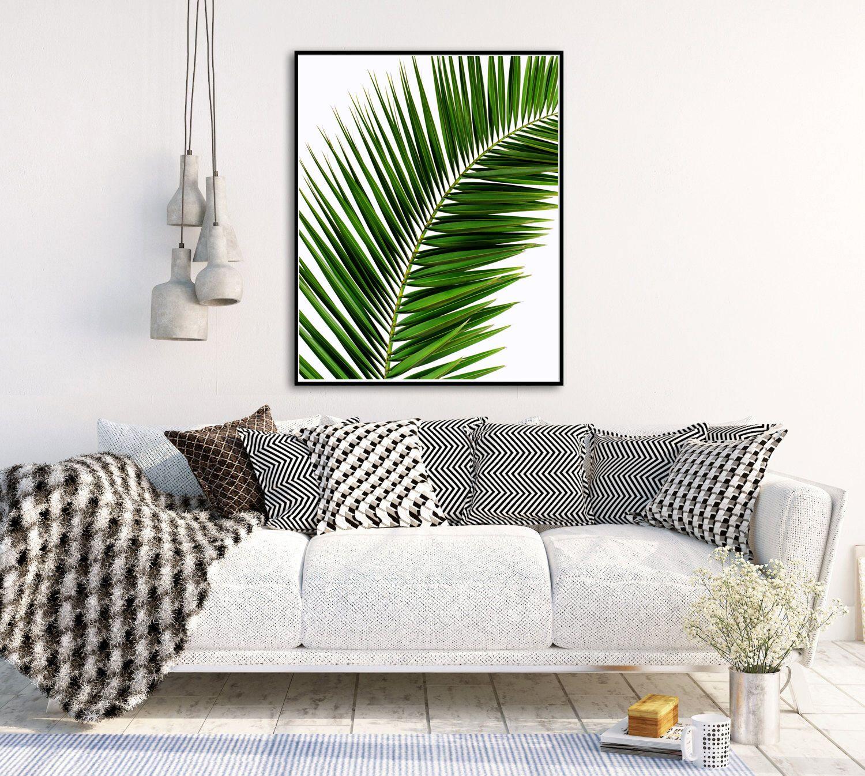 Tropical palm leaf wall art tree print palm photo minimal